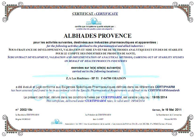 Albhades provence laboratoire d 39 analyses industrielles for Laboratoire d analyse salon de provence